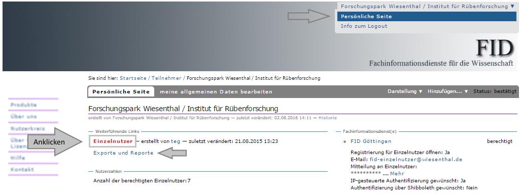 Institution - Ueberblick über registrierte Mitglieder